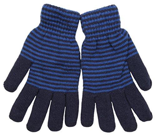 Tom Franks Hommes Plume doublées rayé gants tricotés d'hiver Bleu