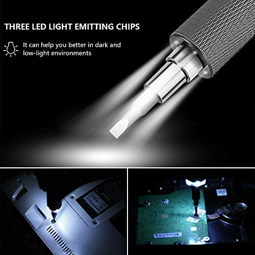 ONUEMP Mini Electric Precision Screwdriver, Anti-Slip Rechargable Power Screwdrivers Set, with 55 Precision Screw Bits, 3 LED Working Light, Magnetic Pad, Handy Repair Tool for Phone Laptop Watch