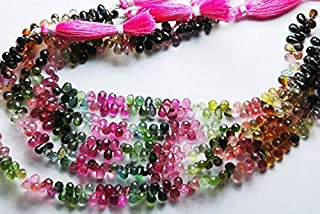 Jewel Beads Natural Beautiful jewellery 9.5'' Long Strand, Super Finest, Natural Multi Tourmaline Faceted Tear Drops, Size 5-6mmCode:- JBB-27077