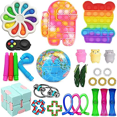 30 PCS Sensory Fidget Toys Pack, Cheap Fidget Toy Pack with Simple Dimple for Kids Adults, Push Pop Bubble Fidget Toy Set Hand Toys Stress Anxiety Relief Toys (D-30 P3) (A4)