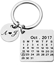 Kooer Personalized Engraved Calendar Key Chain Necklace Engrave Special Day Key Ring Gift for Couples