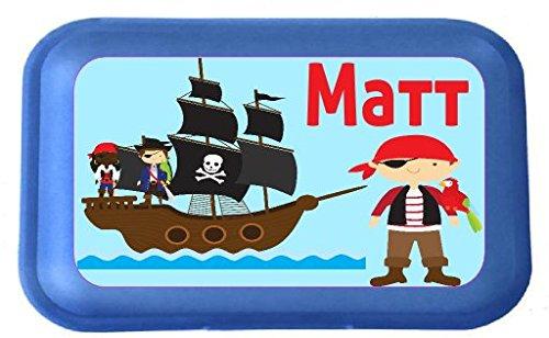 wolga-kreativ Aufkleber wasserfest-e Pirat Piratenschiff für Brotdose Wunschname personalisiert mit Name-n Schulanfang Namensaufkleber Namensetiketten Mädchen Junge Kinder Schule selbstklebend