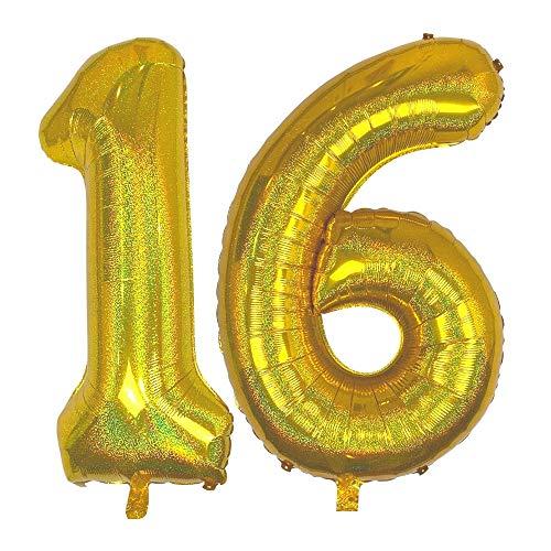 DIWULI, gigantische glitzer XXL Zahlen-Ballons, Zahl 16, Sparkling Gold Luftballons, Zahlenluftballons, Folien-Luftballons Nummer Nr Jahre, Folien-Ballons 16. Geburtstag, Party-Deko, Dekoration