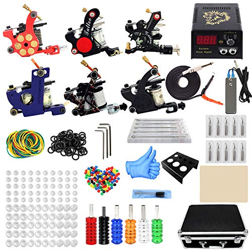 ZH1 Tattoo Gun Kit Professionnel Complet, bâton et Poke Tattoo Kit, Tattoo Artistes Tattoo Tattoo Machine Guns, Fournitures Case Voyage Tattoo Tattoo Artistes