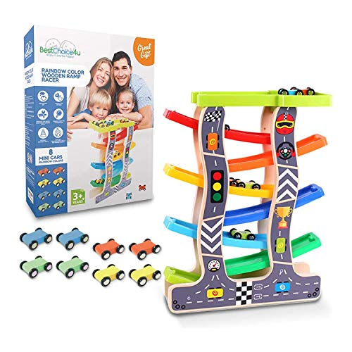 BestChoice4u Wooden Car Ramp Racer for 3 Year Old Boy or Girl and up, Car Race Track for Toddlers, 8 Wooden Race Cars, 7 Level Toy Car Ramp, Kids Gift!