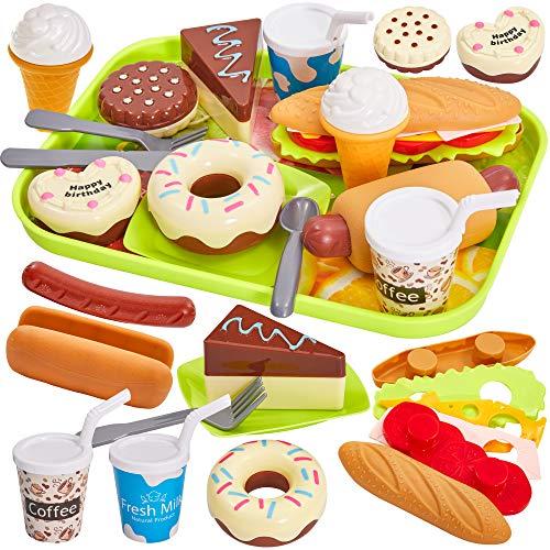 HERSITY Spielzeug Hamburger Kinder Spielküche Zubehör Geschirr Kinderküche Küchenspielzeug Geschenk für Jungen Mädchen 3 4 5 Jahre