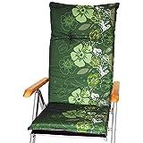 nxtbuy Gartenstuhl-Auflage Barcelona 118x50 cm Green Flower 4er Set - Hochlehnerauflage für Gartenstühle - Stuhlauflage mit Komfortschaumkern - Made in EU / ÖkoTex100