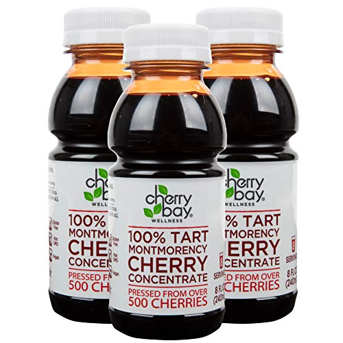 Cherry Bay Orchards Tart Cherry Concentrate - (3 pack - 8 oz Bottles) All Natural Juice to Promote Healthy Sleep - Gluten Free, Natural Antioxidants, No Added Sugar or Preservatives