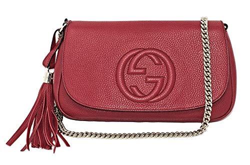 Gucci Soho Interlocking GG Red Leather Chain Flap Shoulder Bag Handbag Italy New