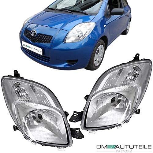 DM Autoteile Yaris P9 XP9 Scheinwerfer SET R+L H4 Klarglas Chrom 2005-2009 für ICHIKOH