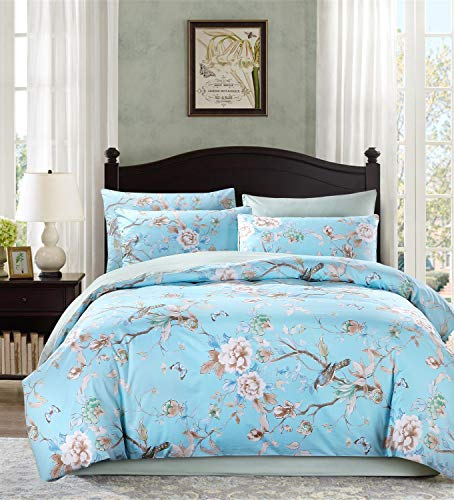 Softta Luxury Queen Size Birds Floral and Leaves Pattern Bedding Set Bohemia Chic Shabby Vintage French Farmhouse 3Pcs Duvet/Quilt Cover Sets 100% Damask Egytion Cotton Smoked Blue