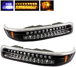 For Chevy Silverado Suburban Tahoe Black Bezel Amber LED Front Bumper Signal Lights Lamps Assembly