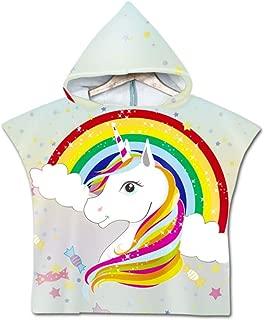 Asciugamano Poncho da Bambino Odot Cartone Animato Accappatoio Microfibra Asciugatura Rapida per Spiaggia Robe Kids con Cappuccio a Forma 60x80cm,Animale