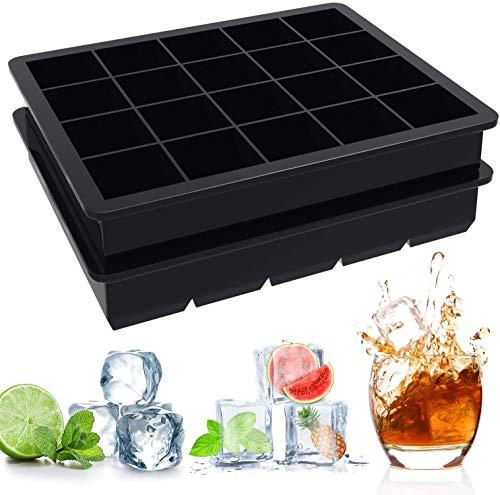 Iindes Ice Cube Tray Set of 2 - LFGB-gecertificeerde BPA-vrije ijsvormen Siliconen voor vriezer, babyvoeding, whisky, cocktails