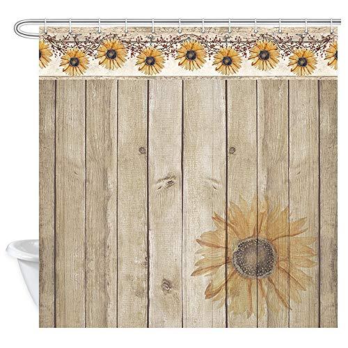 Duschvorhang, Sonnenblumen auf rustikalem Holz, rustikale Blumen & auf primitive Beeren, Vintage, Landhaus-Holzdielen, Badezimmerzubehör, mit 12 Haken, 174 x 178 cm