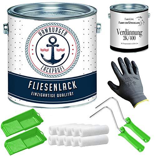 Fliesenlack SEIDENMATT Elfenbein RAL 1014 Beige Fliesenfarbe für Bodenfliesen & Wandfliesen mit Lackier-SET (X300) und Verdünnung // Hamburger Lack-Profi (2,5 L)