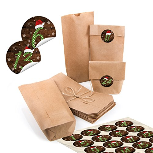 24 kleine bruine papieren zakken natuur kraftpapier 10,7 x 22 x 4,2 cm + 1 tot 24 cijfers cijfers rond muts rood groen gestippeld sticker adventskalender knutselen vullen minizakjes