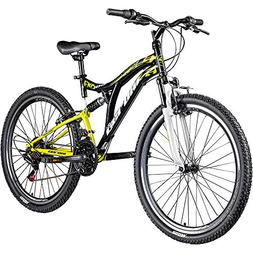Geroni FXC 100 Fully Mountainbike 26 Zoll Fahrrad MTB Fully Mountain Bike Damen Herren Trail Bike Downhill Enduro vollgefedertes Mountainbike Unisex Jugendliche (schwarz/gelb/weiß)
