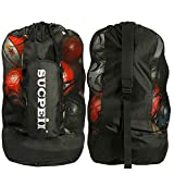 Soccer Mesh Ball Bag, w/Adjustable Shoulder Strap Design for Coach. with an Over-Sized Front Pocket for Sporting Accessories. Best for All Outdoor & Water Gears
