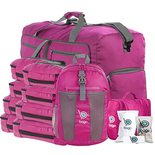 """Bago Travel Luggage Set - 27"""" Duffle - 8 Packing Cubes - Backpack & Toiletry Bag… (Pink)"""
