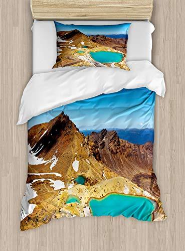 ABAKUHAUS Nieuw-Zeeland Dekbedovertrekset, Emerald Lakes Foto, Decoratieve 2-delige Bedset met 1 siersloop, 130 cm x 200 cm, Veelkleurig