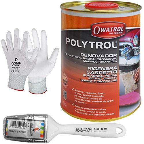 Owatrol Polytrol Renovador Régénère l'aspect du plastique, pierre, marbre, granit, vernis et chrome (1 litre avec pinceau)