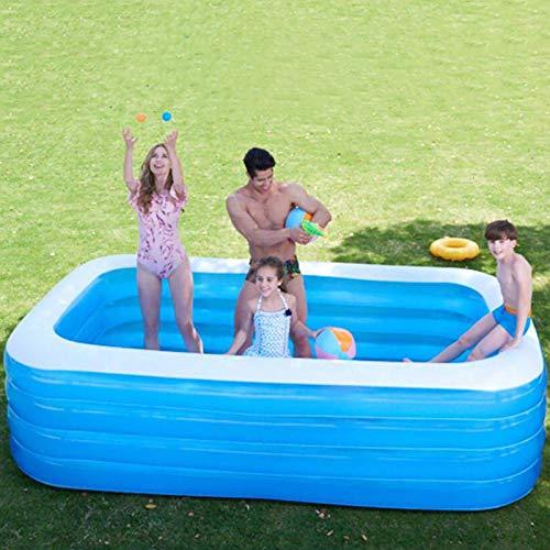 Dream-cool Aufblasbarer Pool, 4-Ring Großer Family Pool, Schwimmbecken Rechteckig Für Kinder Ab 3 Jahren, Jugendliche Und Erwachsene, Für Garten Und Outdoor
