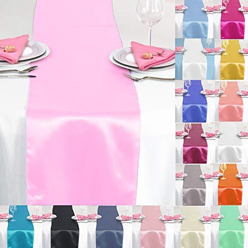 TtS 10X Satin Tischläufer 30x275cm Tischdecke Hochzeit Bankett Dekoration Party -