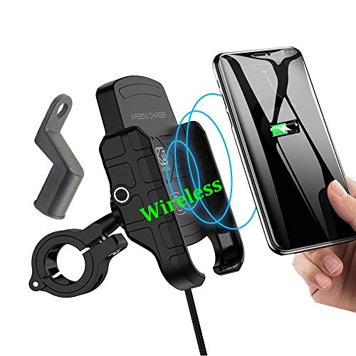 (NO USB) Motorcycle Phone Holder with Wireless Charger,BUENNUS Motorcycle Wireless Phone Charger Mount 10W for Samsung Galaxy S10 S10+ S10E S9 S9+,7.5W for iPhone XR XS MAX XS X 8 8Plus (Black)