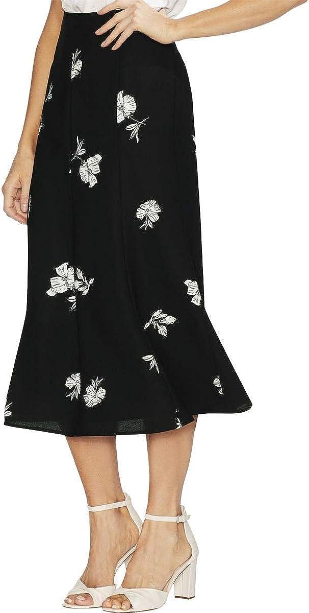 Vince Camuto Womens Tossed Flowers Midi Skirt