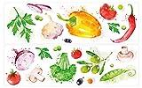 dekodino Pegatina de pared cocina acuarela verduras paprika olivas champiñones