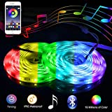 Music LED Lights Strip, Smart-Phone Bluetooth LED Strip Lights for Bedroom, 32.8ft Waterproof SMD5050 300LEDs with 12V Power Supply for Indoor Decor Party and Bar