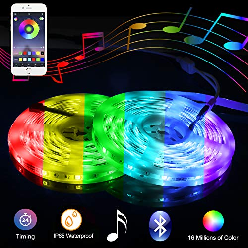 Music Bluetooth Led Lights Strip Smart-Phone Controlled 32.8ft Waterproof SMD5050 300LEDs with 12V Power Supply for Indoor Decor Party and Bar