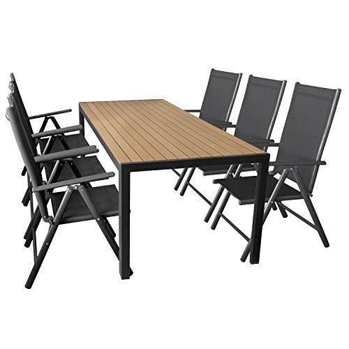Wohaga 7er Set Gartenmöbel Aluminium Gartentisch mit Polywood Tischplatte 205x90cm + 6X klappbare Hochlehner mit 2x2 Textilengewebe, Rückenlehne 7-Fach verstellbar
