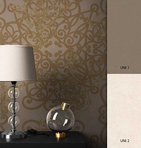 NEWROOM Barocktapete Tapete Braun Ornament Barock Vliestapete Gold Vlies moderne Design Optik Barocktapete Wohnzimmer Glamour inkl. Tapezier Ratgeber