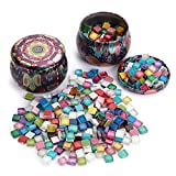 MDLUU 1 Pound Decorative Mosaic Tiles, Assorted Colors Glitter Mosaic, Glass Mosaic Supplies with Storage Box, Mosaic Pieces for DIY Arts, Craft Projects (0.4X 0.4 Inch)