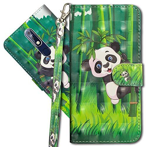 MRSTER Nokia 7.1 Handytasche, Leder Schutzhülle Brieftasche Hülle Flip Hülle 3D Muster Cover mit Kartenfach Magnet Tasche Handyhüllen für Nokia 7.1 2018. YX 3D - Panda Bamboo