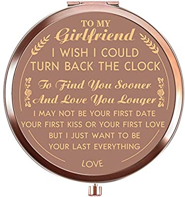 Ueerdand Valentine's Day Girlfriend Gifts from Boyfriend, Unique Birthday Gift Ideas for Girlfriend, Anniversary Present for Her, Rose Gold Purse Pocket Makeup Mirror (to My Girlfriend)