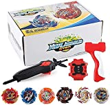 OBEST 1 Peonzas con Lanzador Fusión 4D Conjunto, 6 Burst Turbo Spinning Tops de Metal y 2 Launcher Juego de Batalla, Regalo Juguetes para Niños