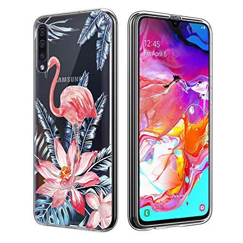 Yoedge Capa para Xiaomi A3, capa traseira de silicone transparente com design padrão para mulheres e meninas, ajuste ultrafino, fina, à prova de choque, capa de TPU (poliuretano termoplástico) para Xiaomi A3 / Xaiomi Mi CC9e (Flamingo)