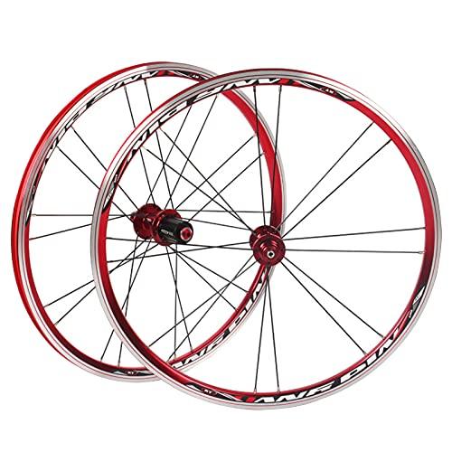 MGRH Juego De Ruedas De Bicicleta Plegable BMX 406451 Llantas Rueda De Bicicleta De 20 Pulgadas C/V- Cojinetes De Freno Sellados Cubos De Liberación Rápida para 7-10 Ve Red-451