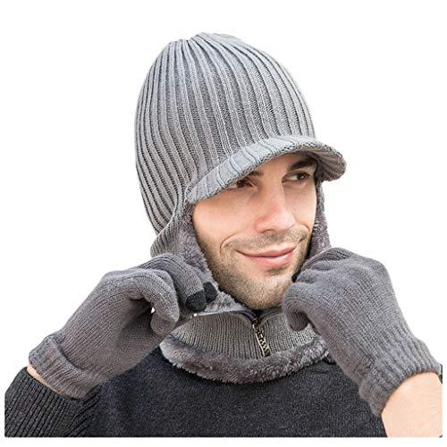 EnjoCho Fashion Winter Women's Girl Hat Gloves Set of Hat and Gloves for Men Boys Warm Beanies Hat for Girl Gloves Winter Hats (Gray)