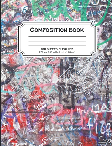 Graffiti Composition Book: 7.5 x 9.75 College Ruled Lined Notebook for Writing...