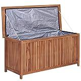 Baúl de almacenamiento de jardín de madera de teca sólida, para jardín, de almacenamiento, exterior, muebles de jardín, 120 x 50 x 58 cm