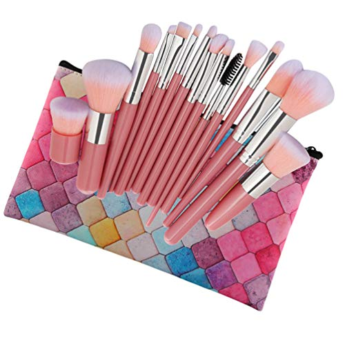 Sentaoa 15 Pcs Kit De Pinceaux Maquillage Professionnel Blush Fond De Teint Poudre Contour Correcteur Cosmétique Brosse Set (Style 6,14.8-18.5cm)