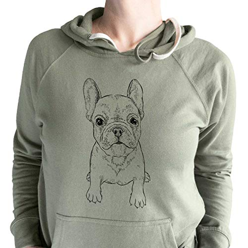 Inkopious Bare Puppy Pierre The French Bulldog - Unisex Loopback Terry Hooded Sweatshirt -Olive Large