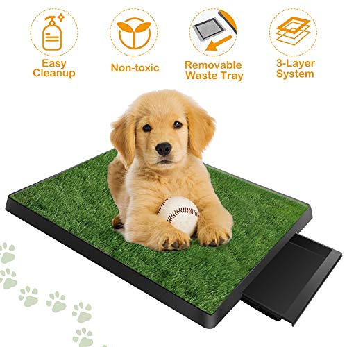 TeqHome Dog Grass Pad with Tray, Fake Grass for Dogs Potty, Artificial Grass for Dog Pee Indoor/Outdoor, Puppy Potty Training Grass for Medium and Small Dogs Pets