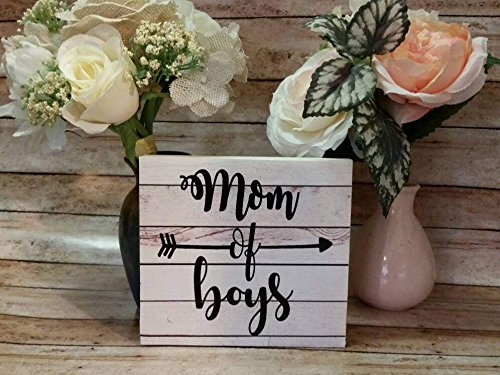 CELYCASY Holzschild, Aufschrift Mother of Boys, mit englischsprachiger Aufschrift, für Mutter/Baseball/Mama, mit Zitaten