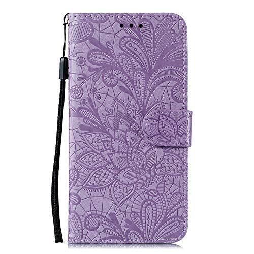 DEEB020243 - Funda de piel tipo cartera para Samsung Galaxy A71 (función atril, cierre magnético, tarjetero), color morado