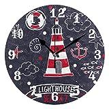 ALARGE - Reloj de Pared náutico con diseño de Faro silencioso, Reloj Digital de acrílico, Decorativo, para Cocina, hogar, Oficina, Aula, Arte